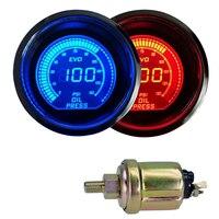 جديد 2 بوصة 52 ملليمتر محرك السيارات السيارات مقياس ضغط الزيت سيارة ضغط الزيت متر ثنائي اللون الأزرق الأحمر الصمام العرض الرقمي 12 فولت
