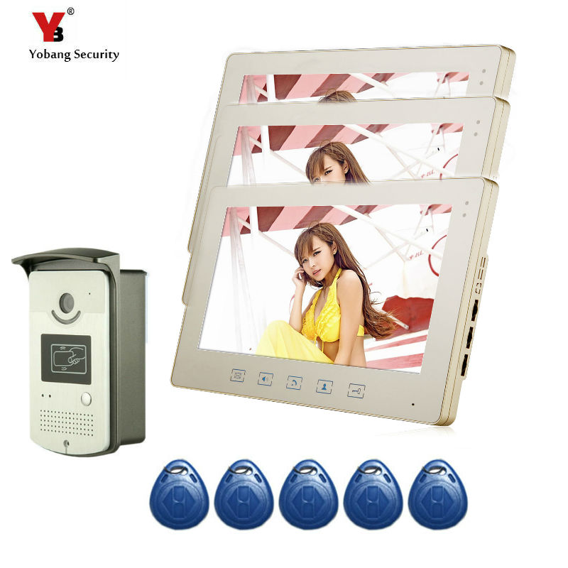 Yobang Security 10 Inch Intercom System Video Door Phone Night Vision Doorbell Camera Mounted Door Intercom Three Monitor kit цена и фото