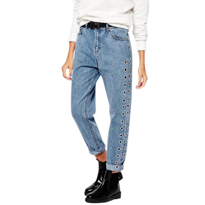 2017 Fashion Rivets Ripped High Waist Jeans Straight Eyelet Detail Boyfriend Denim Jeans Women Pants Female