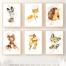 Bear Rabbit Deer Fox Nursery Art Prints Wall Art Canvas Painting Nordic Posters And Prints Wall Pictures Baby Kids Room Decor цена и фото