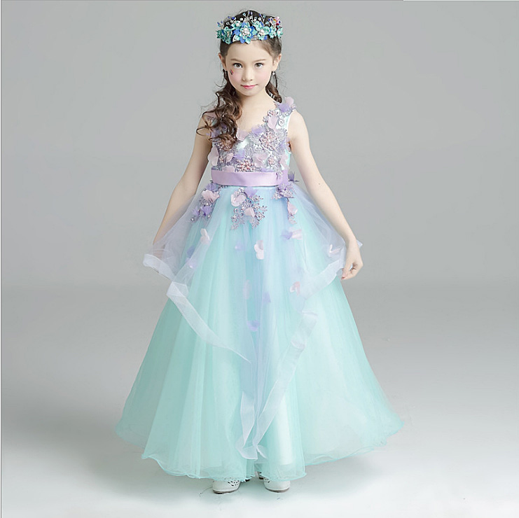 3510 Pearls Embroidery Flower Baby Girls Ball Gown Princess Wedding dress Party Maxi Evening Kid Dresses For Girls Wholesale lot стоимость