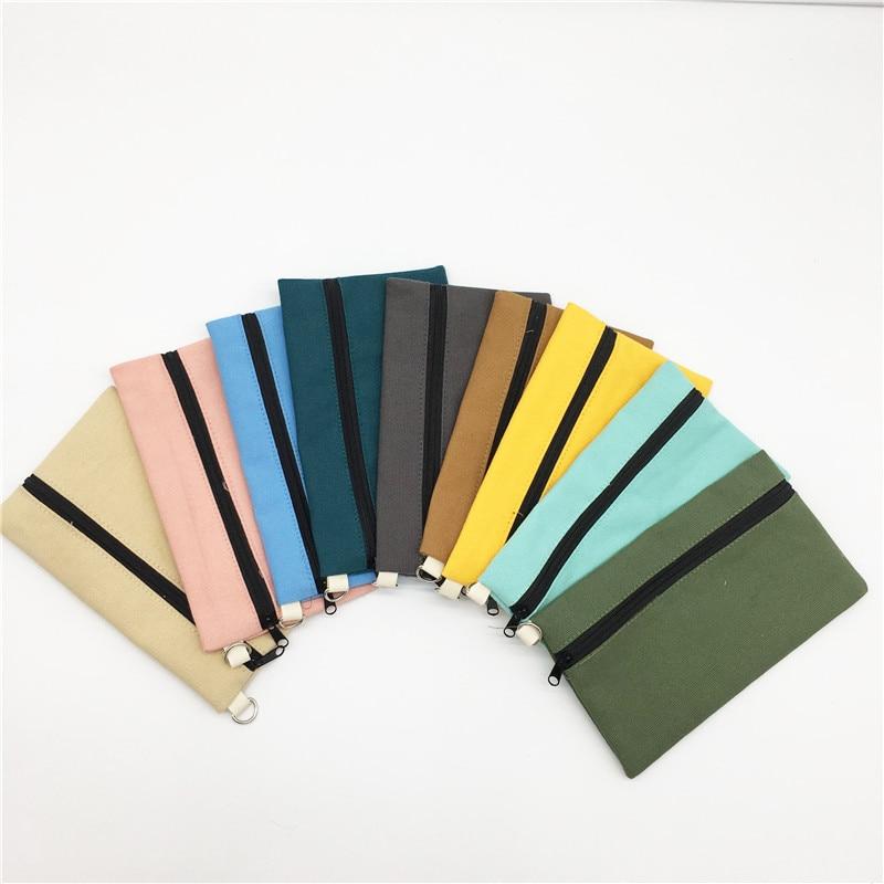 100pcs Coloful blank canvas zipper Pencil cases pen pouches cotton cosmetic Bags makeup bags Mobile phone