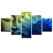 Hot Sales Framed 5 Panels Picture Beautiful Buddha HD Canvas Print Painting Artwork Wall Art painting Free Shipping