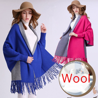 2017 Autumn New Women's Elegant Socialite Cashmere Tassel Cardigan Sweaters Batwing Sleeve Scarf Cape Outwear Poncho Top Quality