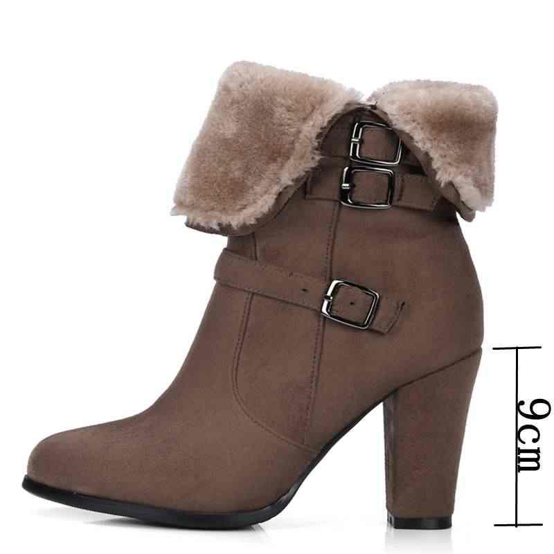 REAVE KEDI Peluş Kadın botları Sıcak yarım çizmeler kadınlar için Kar botları Kış Büyük boy Fermuar tenis feminino chaussures femme B115