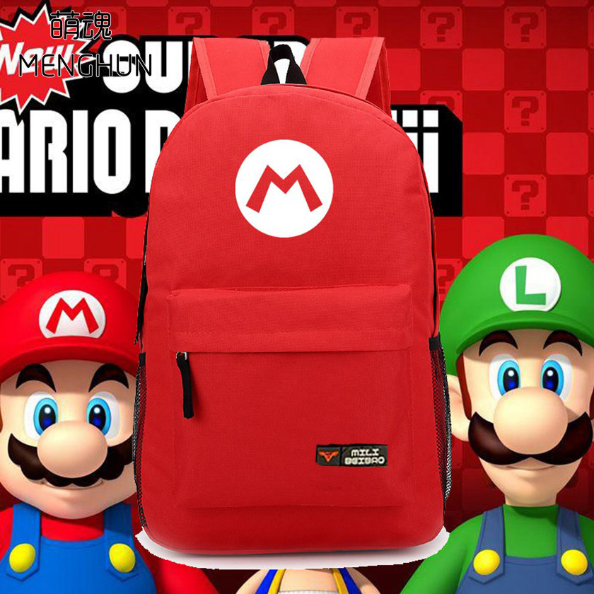 Super Mario brothers concept nylon backpacks Mario Red backpacks Luigi  green bags new design retro game fans backpacks NB063 ems shipping 12 sets cute super mario game mario luigi brothers set pvc action figure collection model dolls toy 3pcs per set