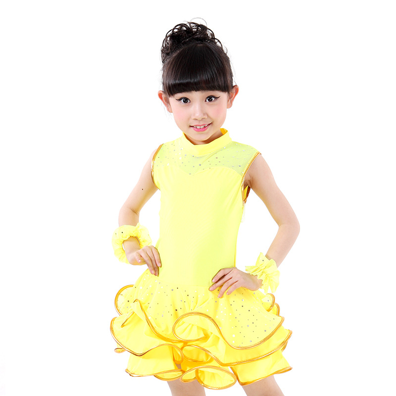 Фото Girls Sleeveless Sequined Latin Competition Dress Children Kids Modern Dance Ballroom Salsa Rumba Tango Samba Cha Cha Costumes