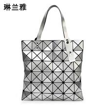 Ladies Folded Geometric Plaid Bag Women Fashion Casual Tote Top-handle Bag Shoulder Bags Bao Bao Pearl BaoBao Bolsas Handbags