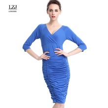 LZJ professional white-collar work pencil sheathed vestidos new summer sexy deep V-neck seven-fold sleeves fold stitching dress