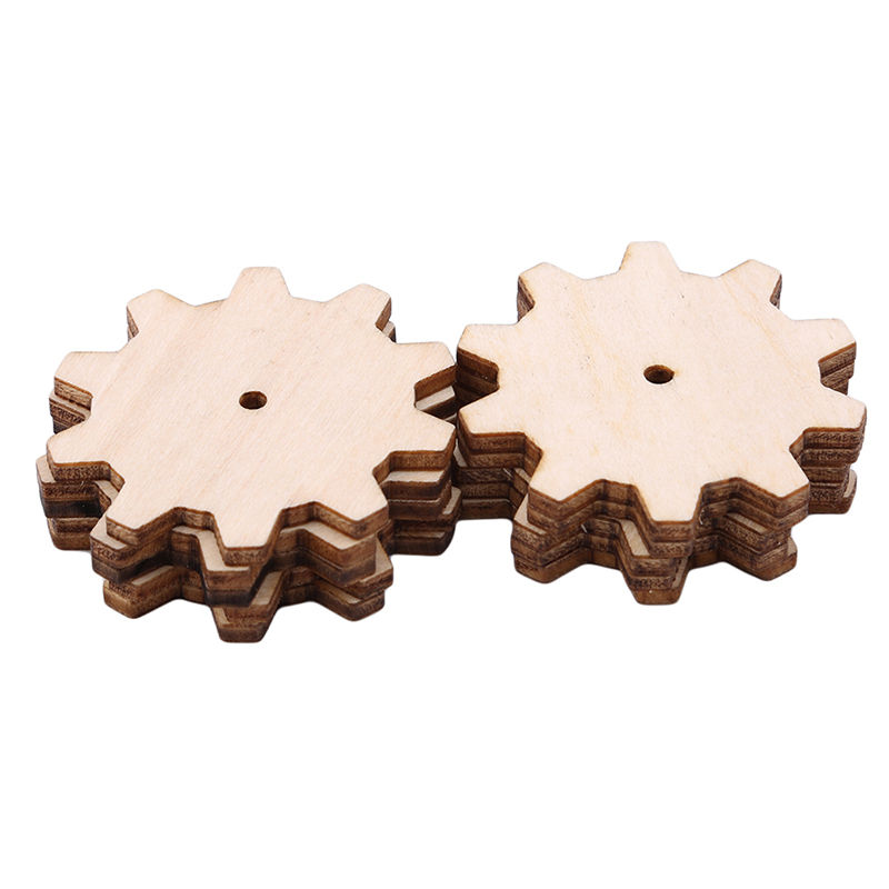 Creative 10pcs Wood Decoration Wood Gear Puzzle Hand Drawn Doodle Accessories For Board Game Pieces Arts Crafts Ornaments