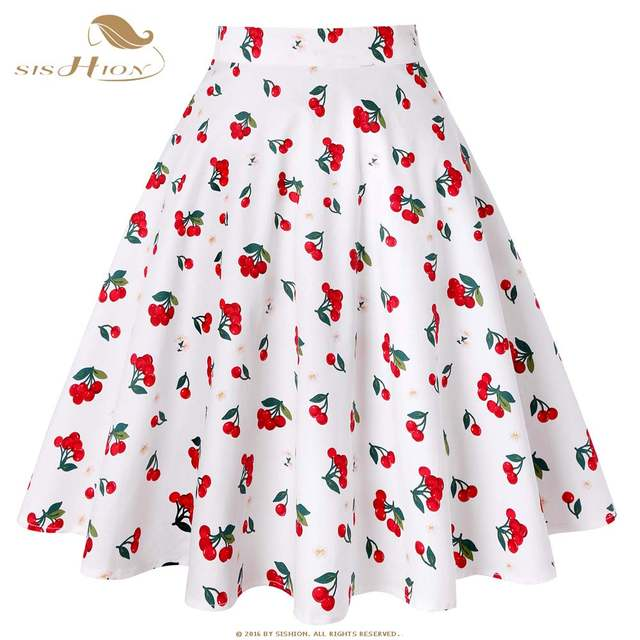 5a4e4b82d SISHION Black Summer Skirt High Waist Plus Size Floral Print Polka Dot  Ladies Plaid Women Skirt
