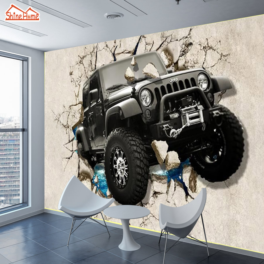 ShineHome-Custom Jeep Car Cracked Wall Brick Wallpapers 3d Living Room Kids Children Boys Bedroom Decorative Wall Paper Mural shinehome sunflower bloom retro wallpaper for 3d rooms walls wallpapers for 3 d living room home wall paper murals mural roll