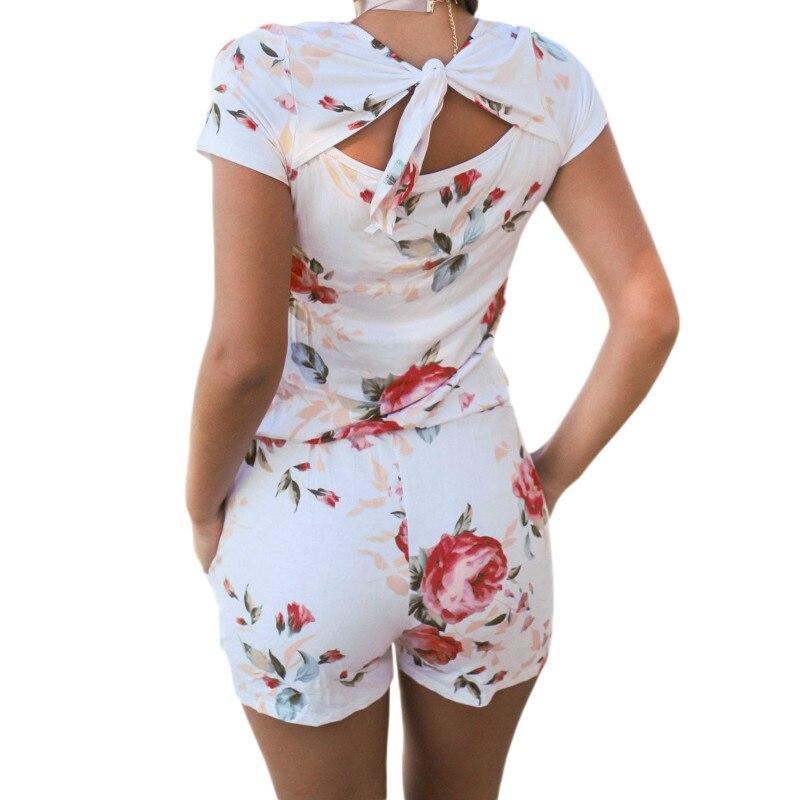 2018 летние пляжные милые Цветочный принт комбинезоны Повседневное Для женщин Комбинезоны шорты Femme короткий рукав Sexy Back узел комбинезоны