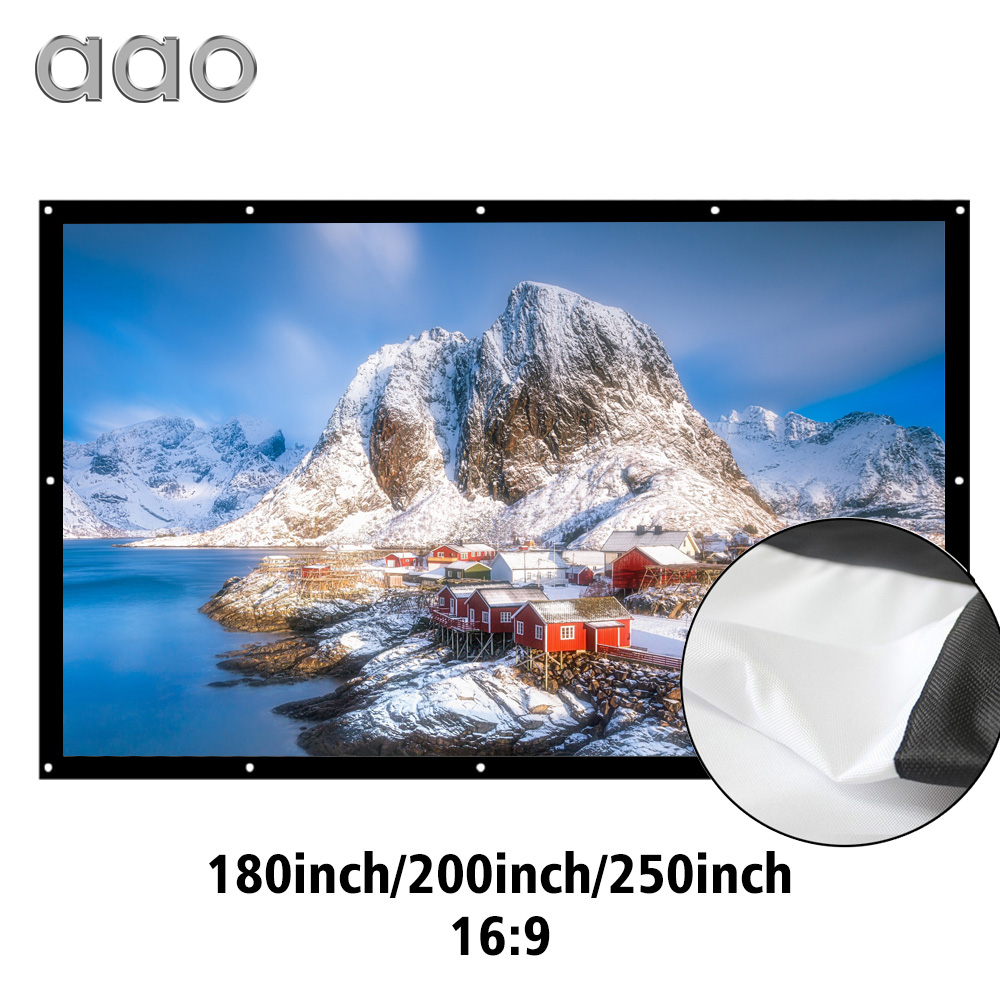 AAO 16 9 Projector Screen 180 200 250 300 inch HD Matt White Anti crease Projection
