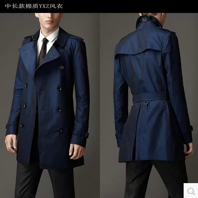 Blue khaki double breasted long black trench coat men
