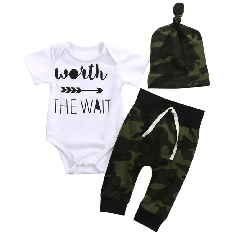 3Pcs Newborn Baby Boy Clothing Set Cotton White Long Sleeve Romper+ Camouflage Pants+ Hat Army Green Infant Baby Boy Clothes Set