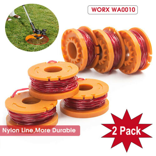 2-Pack 10ft WORX WA0010 Replacement Spool Line For Grass Trimmer/Edger WG150-175