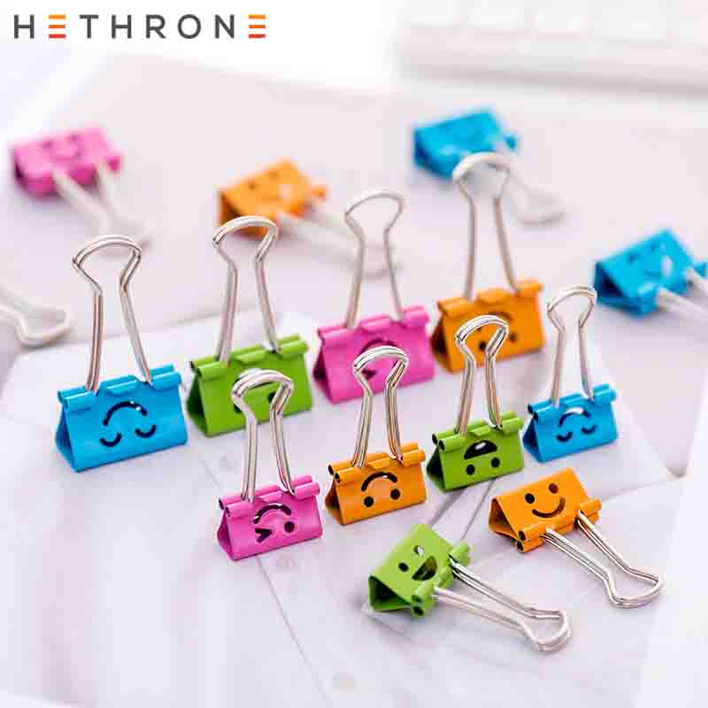 Hethrone NEW Kawaii Multifunction 40pcs Hollow Smile Nagao Metal Binder Clips Bookmark Planner Office Paper Clip High Quality