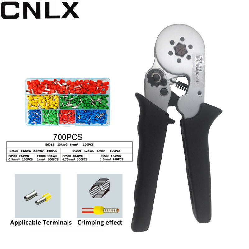 6-6 round nose self-adjustable Terminal Block Crimping pliers 0.25-6mm2 24-10AWG for wire ferrules,end sleeves Crimping Tools