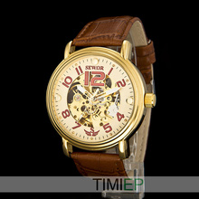 SEWOR Men's Mechanical Steampunk Skeleton Hand Wind Watch Mens Dress Watches Gold Tone