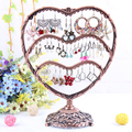 Free shipping 58 Holes Antique brass Heart shape Jewelry Earring display,Necklace showcase Jewelry Display Rack stand holder