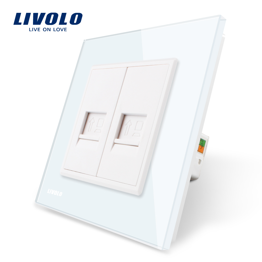 Livolo Manufacture White Crystal Glass Panel, 2 Gangs Computer Socket / Wall Outlet /Plug Socket VL-C792C-11 atlantic brand double tel socket luxury wall telephone outlet acrylic crystal mirror panel electrical jack