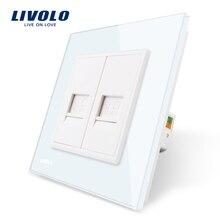 Производство Livolo, Белый хрусталь Панель, 2 банды компьютер socket/розетка VL-C792C-11