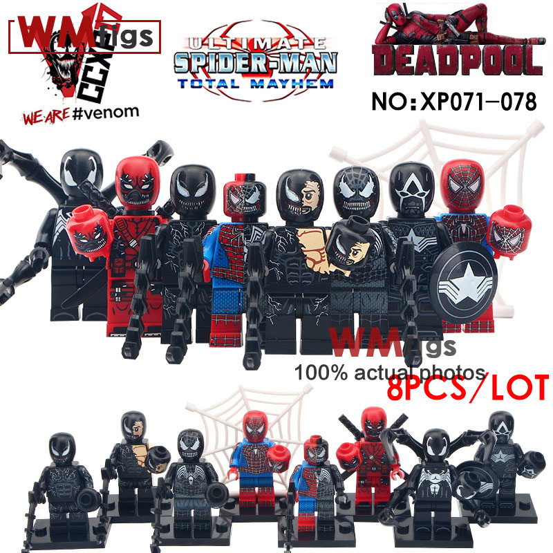 8pcs//lot Super Heroes Avengers Marvel Captain American Spider Man Iron Man Block