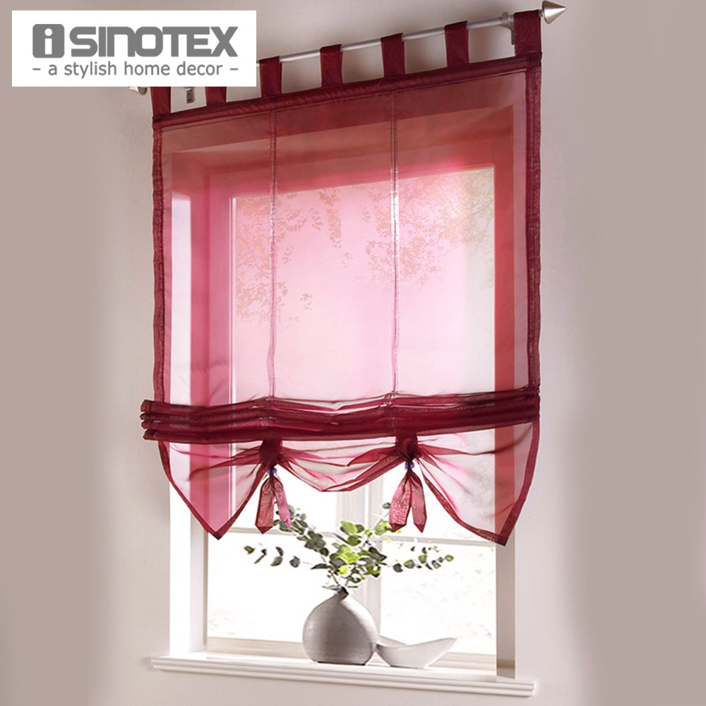 roman curtain floral printing sheer window curtain for kitchen