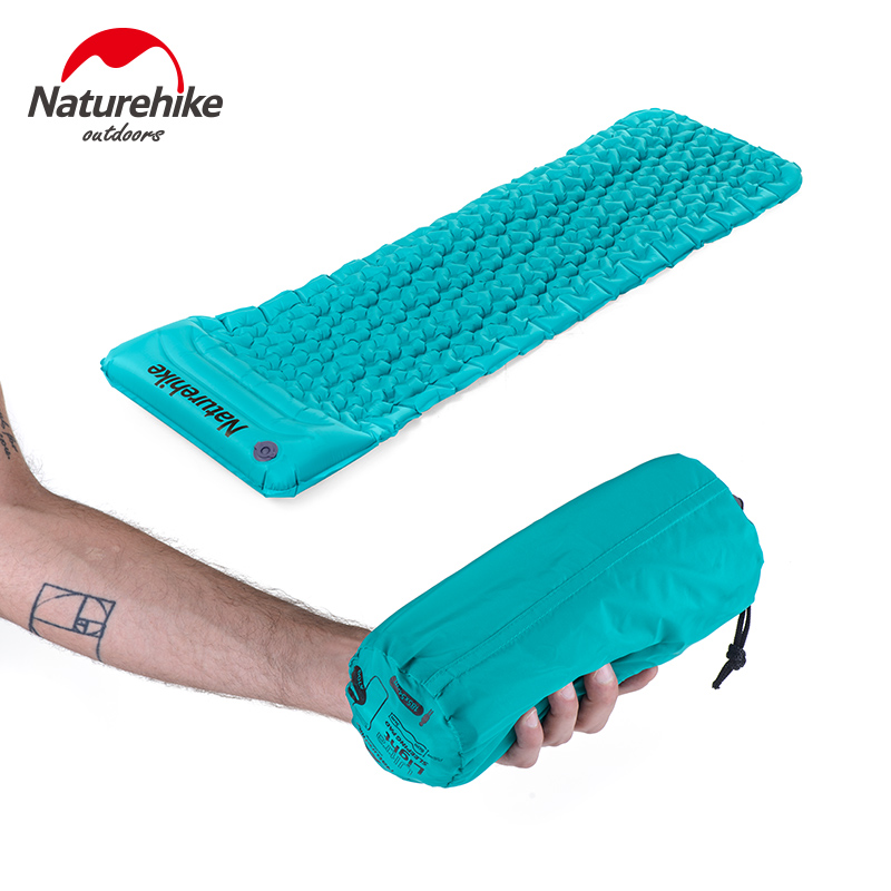 Naturehike Outdoor Inflatable Cushion Sleeping Bag Mat Fast Filling Air Moistureproof Camping Mat With Pillow Sleeping Pad 460g|camping mat|sleeping bag matinflatable cushion - title=
