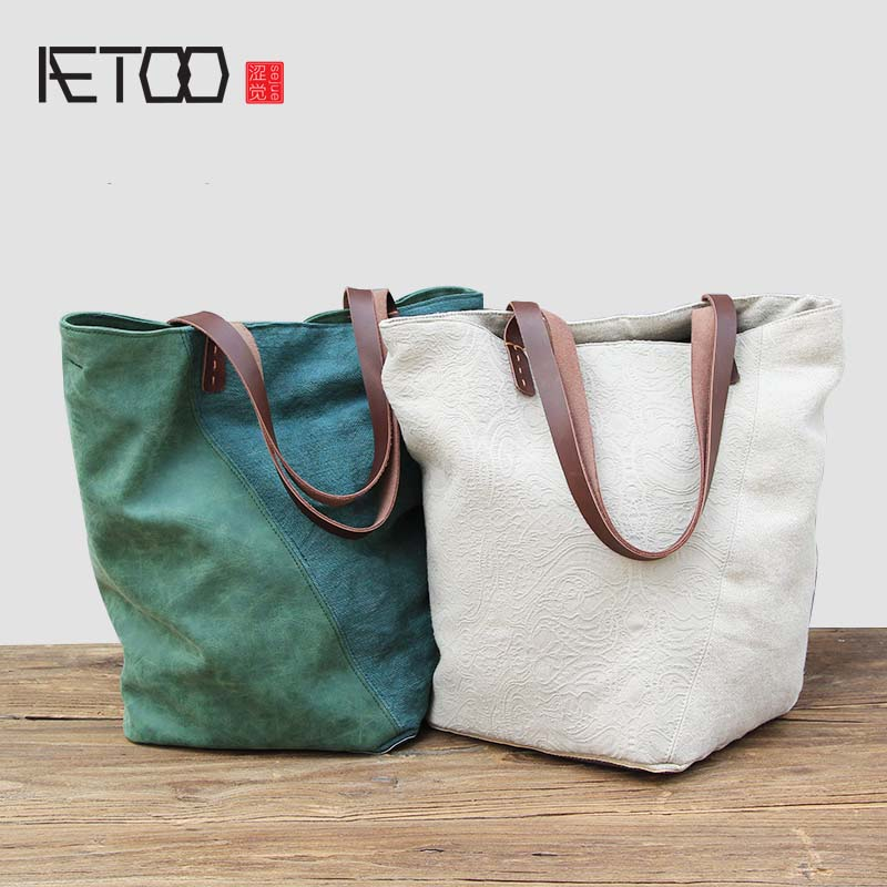 AETOO Large capacity canvas bag patchwork art single shoulder bag women vintage simple portable large cotton