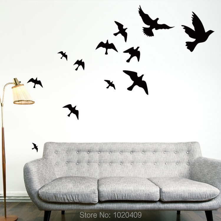 Exclusive Direct wall sticker Home Furnishing decor Peace Doves carved animal silhouettes PVC wallpaper children room 8501