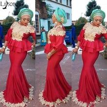 Elegant African Dubai Red Mermaid Evening Dress Jewel Neck Gold Appliques 3 4 Long Sleeves Peplum