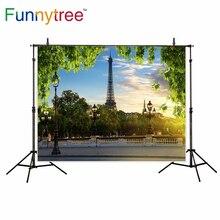 Funnytree fotografia cenário primavera Paris Torre Eiffel rua photocall de folhas verdes fundo photo studio prop foto