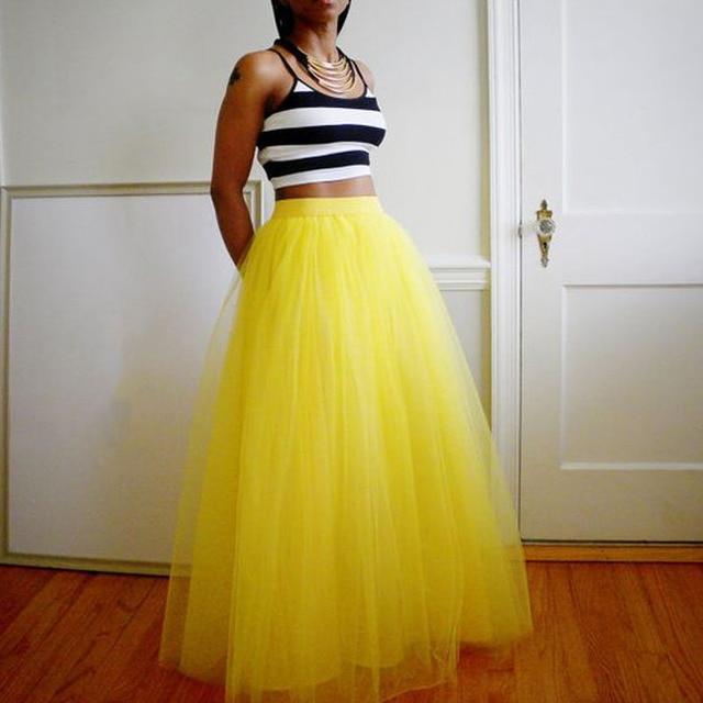 Lemon yellow maxi bouffant puffy piso-longitud de tulle mujeres faldas faldas 2016 por encargo largo faldas 90 color disponible