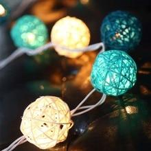 20 ротанговый шар светодиодный гирлянда Праздничные огни AC штекер батарейка светодиодные огни для новогодней елки гирлянды свадебные украшения