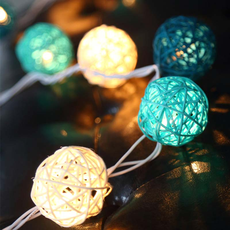 20 Rattan Ball LED String Holiday Lights Lights AC Plug Battery Operated LED Christmas Tree Lights Garlands Wedding Decorations