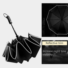 Large Strong Windproof Umbrella Fully Automatic Three Folding Men 10k Black Reflective Trim RG046