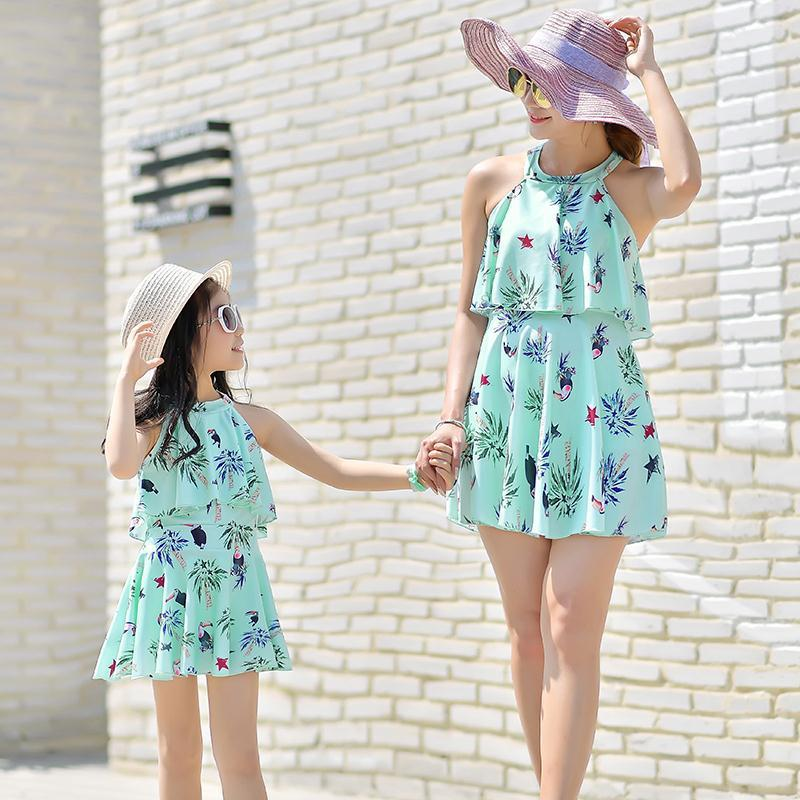 Us 16 98 Baby S Swimsuit Mommy And Me Mother Daughter Dresses Family Matching Beach Dress Mama Bear Best Friends Shirt In Children