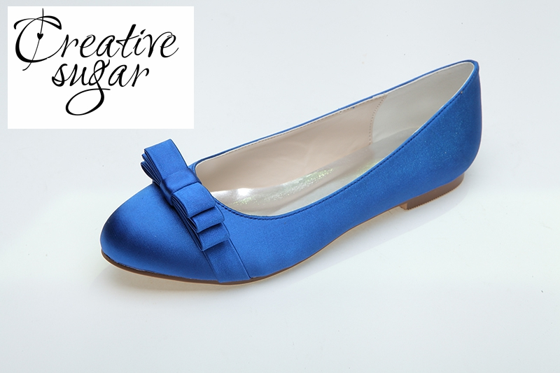ФОТО Creativesugar Sweet rounded toe woman satin dress flats slip on dress shoes blue white wedding party prom bow for beach wedding