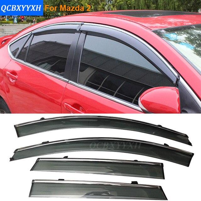 Coche Stylingg Toldos Refugios 4 unids/lote Viseras Ventana Para Mazda 2 Hatchback/Sedan 2010-2016 Sol protección contra la Lluvia Cubre Las pegatinas