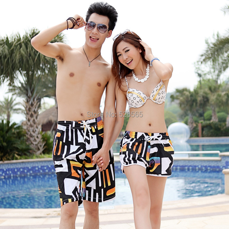 2015 Lovers Couple Beach Shorts Men Women Short Pants Stripe Stars Sport Swimming Surf Wear t9 - Laid-back station store