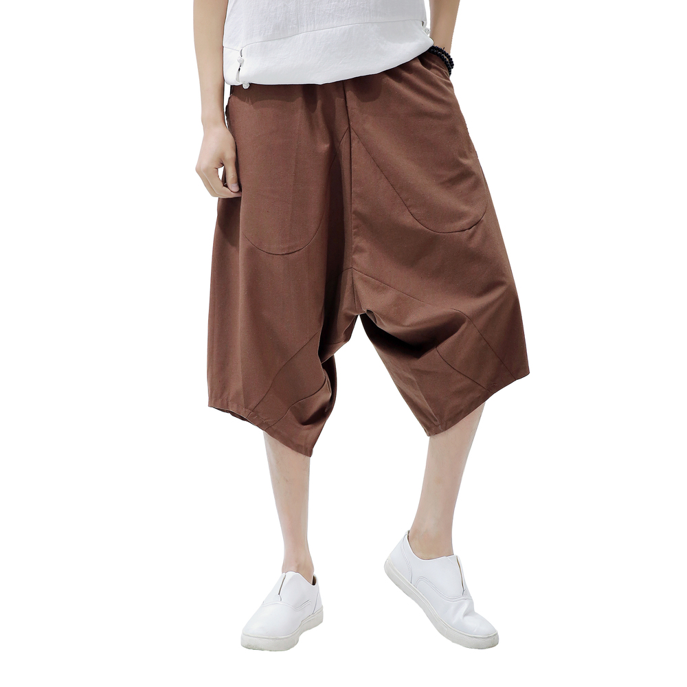 Show details for 2018 Casual Linen Harem Pant man Summer Loose Leisure Hip hop wide leg cross Drawstring Dance Plus Size boys cotton trousers 5XL