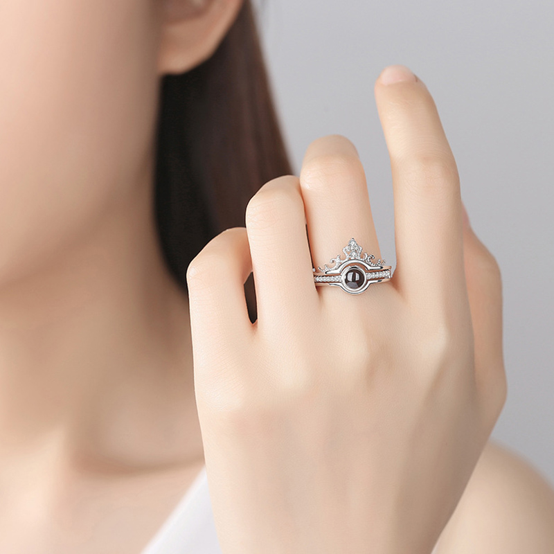 2019 New Arrival 100 Languages I Love You Rings Love Crown Couple Rings Fashion Opening Engagement Wedding Ring Set For Women