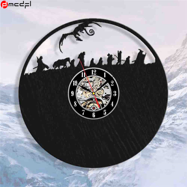 Hot Lord of the Rings Theme 12 inch Handmade Vinyl 3D Wall Clock Magic Sticker Home Decoration