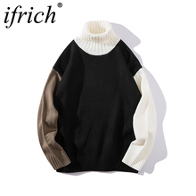 Vintage Color Block Pullover Sweaters Mens Hip Hop Casual Knitted Sweater Fashion Male Streetwear Sweatercoats Turtleneck Men