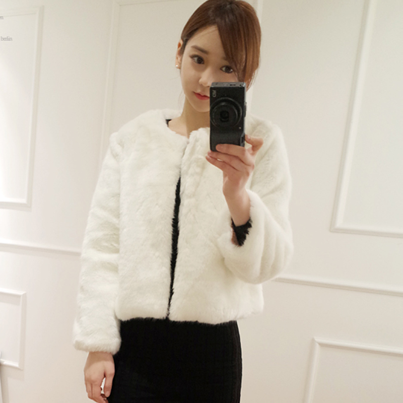 2018 fashion winter 8 color faux natural fur short design rex rabbit hair sheepskin cashmere slim women coat outerwear jacket