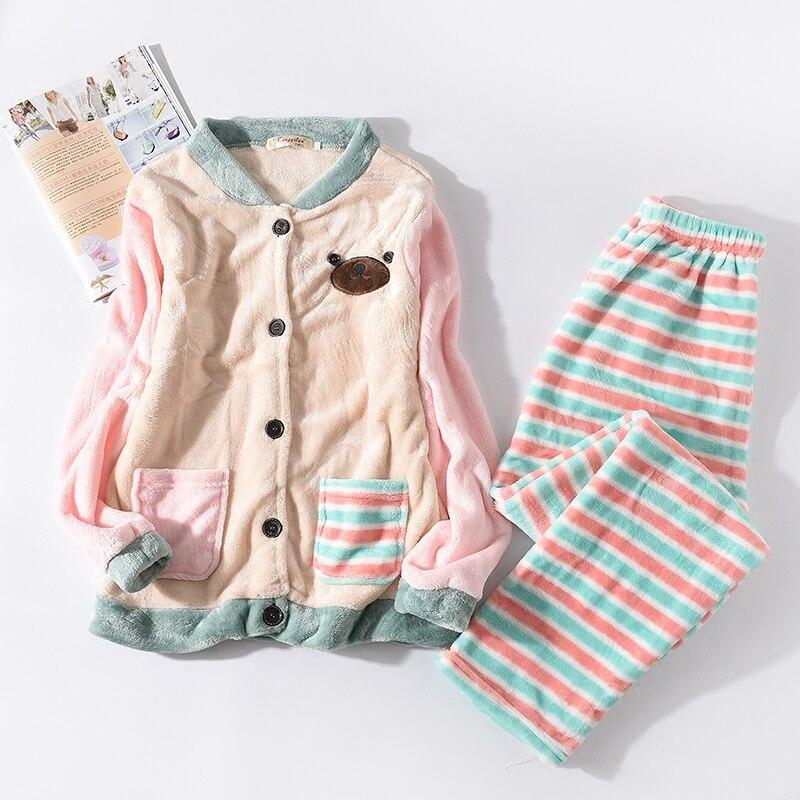 Cardigan   Pajamas   Suit Winter Women   Pajamas     Set   Sleepwear Flannel   Pajamas   Nightwear Top+Pants 2pcs   Pajamas     Sets   Pijama Feminino