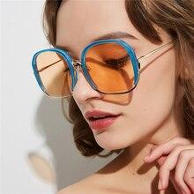 PAWXFB 2019 Fashion Semi-Rimless Sunglasses Women Vintage Oversized Sun Glasses Summer Style Eyewear