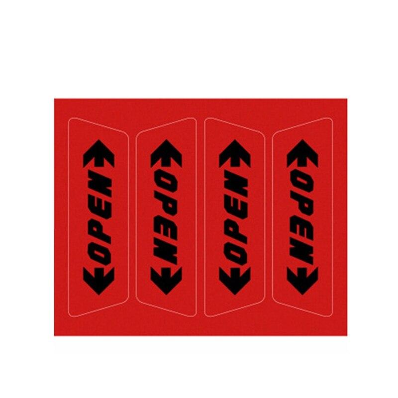 """4 шт./компл. Автомобиль открыть светоотрающей полосой Предупреждение отражающая открытая уведомления велосипедные аксессуары наружные двери автомобиля наклейки """"сделай сам"""" - Название цвета: RD3"""
